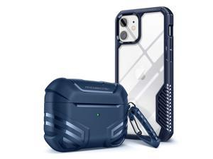 MOBOSI Armor Bundle – Airpods Pro Case with Keychain & iPhone 12/12 Pro Case 6.1-Inch Heavy Duty Protective Covers-Blue