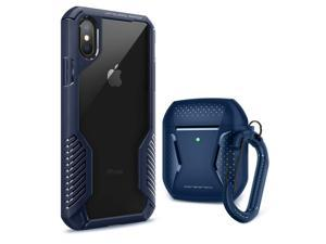 [Bundle] MOBOSI Vanguard Armor Compatible with iPhone Xs Max Case & Net Series Airpods 2&1 Case Cover (Blue)