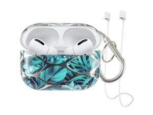 Lovemecase case for Airpods Pro 3 in 1 Marble Cute Airpods Pro Accessories Protective Design Case Cover Portable Shockproof Women Girls with Keychain/Strap for Airpods 3 Case(Green Leaves)