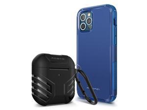 MOBOSI Case Compatible with iPhone 12 Pro Max 6.7 inch (2020 Release) Excursion Series (Blue) + Vanguard Armor AirPods Case Cover Compatible with AirPods 2 & 1(Black)