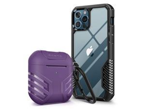 MOBOSI Vanguard Armor Compatible with iPhone 12 Pro Max Case 6.7 inch(Black) + Vanguard Armor AirPods Case Cover Designed Compatible with AirPods 2 & 1(Purple)