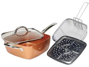 Copper Induction Pan Pot Non-Stick Fry Basket Handle Glass Lid Dishwasher Safe