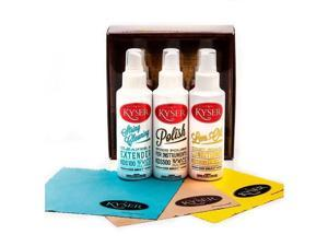 NEW KYSER KCPK1 GUITAR AND INSTRUMENT CARE KIT W/STRING CLEANER, POLISH, LEM-OIL