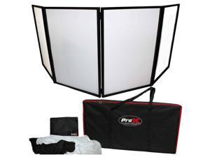 ProX XF-4X3048B Black Aluminum 4 Panel DJ Booth LED Facade & Bag