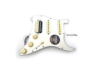 New Fender ShawBucker USA 57/62 Pickups Loaded HSS Strat Pickguard Zebra / White