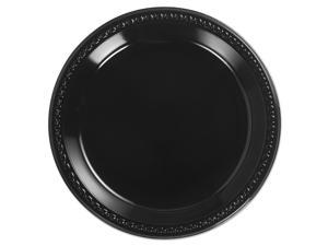 Chinet Heavyweight Plastic Plates 10 1/4 Inches Black Round 81410