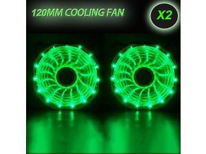 2 Pack GREEN 120mm 15LED Neon Light Quite PC Computer Desktop Case Fan Cooler