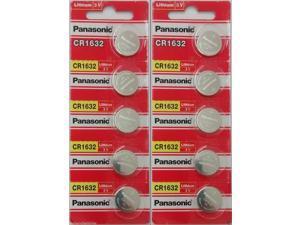 10 x SUPER FRESH Panasonic CR1632 ECR1632 Lithium Battery 3V Coin Cell Exp. 2027