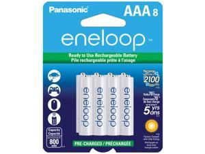 Panasonic eneloop 8 AAA 800mAh Pre-Charged NiMH Rechargeable Batteries