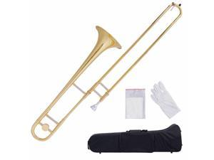 B Flat Trombone Gold Brass Mouthpiece Carry Case Glove Beginner Kid Student Band