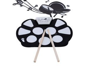 Portable Electronic Roll up Drum Pad Kit Foldable with Drumsticks Rec Function