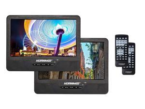 """Koramzi Portable 9"""" Dual Screen Dual DVD Player with Rechargeable Battery / USB"""