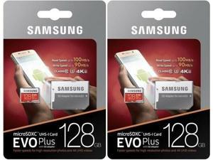 2 Pack Samsung 128GB EVO Plus Class 10 4k U3 Micro SDXC with Adapter MB-MC128GA