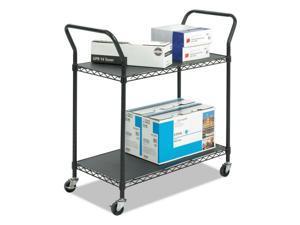 Safco Wire Utility Cart,Two-Shelf,43-3/4w X 19-1/4d X 40-1/2h,Black 5337BL NEW