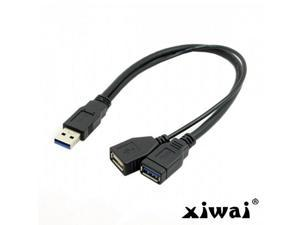 """Xiwai Black USB 3.0 Male to Dual USB Female Extra Power Data Y Extension Cable for 2.5"""" Mobile Hard Disk"""