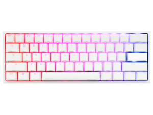 Ducky One 2 Mini Pure White - RGB LED 60% Double Shot PBT Gaming Mechanical Keyboard - Cherry MX Blue Bezel Design Detachable USB Type - C Lightweight and Extremely Portable