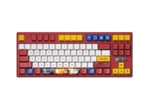 Akko 3087 One Piece Luffy TKL Gaming Mechanical Keyboard Double Shot Dye Sub PBT Keycaps NKRO Detachable USB Type-C White/Red/Yellow