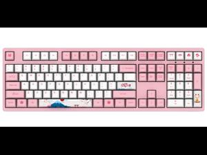 Akko 3108V2 World Tour Tokyo Sakura Pink Gaming Mechanical Keyboard Double Shot Five-Side Dye Sub PBT Keycaps NKRO Detachable USB Type-C