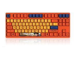 Akko 3087V2 Dragon Ball Z Goku TKL Gaming Mechanical Keyboard Double Shot Dye Sub PBT Keycaps NKRO Detachable USB Type-C Wired Yellow and Orange