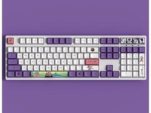 Akko 3108V2 Dragon Ball Z Frieza Full Size Gaming Mechanical Keyboard Double Shot Dye Sub PBT Keycaps NKRO Detachable USB Type-C Wired White and Purple