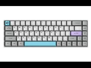 Akko 3068 Gray 68 Keys Bluetooth/Wired Gaming Mechanical Keyboard Double Shot Dye Sub PBT Keycaps White/Grey/Blue