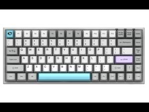 Akko 3084 Gray 84 Keys Bluetooth/Wired Gaming Mechanical Keyboard Double Shot Dye Sub PBT Keycaps White/Grey/Blue