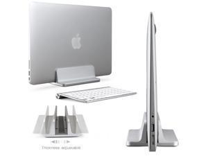 PandaTek Aluminum Vertical Laptop Stand Width Adjustable Desktop NoteBooks Holder Erected Space-saving Stand Book Shelf for MacBook Pro / Air