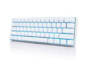Royal Kludge RK61 Mechanical Bluetooth 3.0 Wired/Wireless 61 Keys Multi-Device LED Backlit Gaming/Office Keyboard for iOS, Android, Windows and Mac with Rechargeable Battery, Blue Switch - White