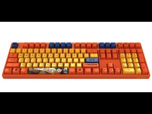 Akko 3108V2 Dragon Ball Z Goku Full Size Gaming Mechanical Keyboard Cherry MX Red Switch Double Shot Dye Sub PBT Keycaps NKRO Detachable USB Type-C Wired Yellow and Orange