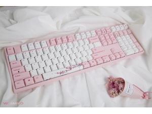 Varmilo VA108M Sakura Full Size Gaming Mechanical Keyboard Cherry MX Brown Switch Dye Sub PBT Keycaps NKRO Detachable USB Wired Pink and White