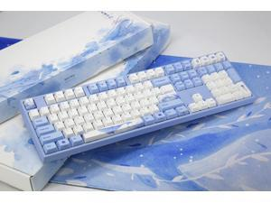 Varmilo VA108M Sea Melody Full Size Gaming Mechanical Keyboard Cherry MX Brown Switch Dye Sub PBT Keycaps NKRO Detachable USB Wired Blue and White