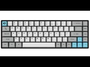 Akko 3068 Grey 68 Keys Bluetooth/Wired Gaming Mechanical Keyboard Cherry MX Blue Switch Double Shot Dye Sub PBT Keycaps White/Grey/Blue
