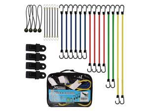 24 Pieces Bungee Cords with Drawstring Bag (Plain)