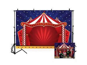 8x6ft Dark Blue Sky White Stars Photo Studio Booth Background Red Circus Themed Kid Birthday Party Banner Backdrops for Photography