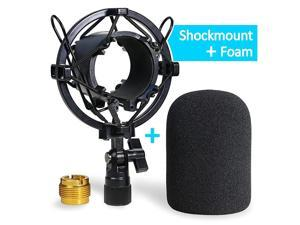 AT2020 Shock Mount with Windscreen Shock Mount Stand with Foam Pop Filter for Audio Technica AT2020 AT2035 AT4040 AT2020USB ATR2500x Condenser Micphone