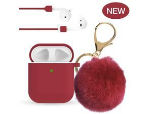 for Airpod Case -Slicone Cute for Airpods Case Cover with Pom Pom Keychain Compatible with Apple Airpods 2 &1 (Front LED Visible)