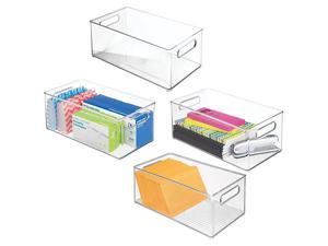 Plastic Storage Bin Container Home Office Desk and Drawer Organizer Tote with Handles Holds Gel Pens Erasers Tape Pens Pencils Markers Envelopes 145quot Long 4 Pack Clear
