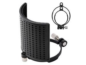 Microphone Pop Filter, Mic Pop Filter for BLUE YETI, AT2020, AT2050- MPFUBK1 with Upgraded Three-Layer Filter Foam, Metal Panel& Metal Mesh, Microphone Windscreen Shield Mask