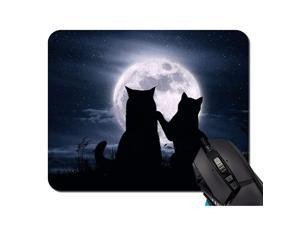 Cats Love Moon Silhouette Mouse Pad NonSkid Natural Rubber Rectangle Mouse Pads Home Office Computer Gaming Mousepad Mat