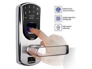 A60 Biometric Door Lock, with Right-Handle, Keyless Entry Fingerprint Lock, Auto-Lock Electronic Keypad Smart Lock with Keys for Garage Homes Front Door, with 304 Stainless Steel