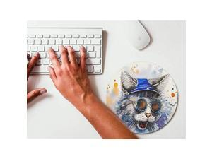 Watercolor Fashion Cat Round Mouse pad Gaming Mouse Pad Rubber Round Mouse Mat787inchx787inch