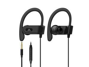 E171 Sports Earbuds Wired with Microphone, Sweatproof Wrap Around Earphones with Over Ear Hook, in Ear Running Headphones for Workout Exercise Gym Compatible with iPhone, Cell Phones
