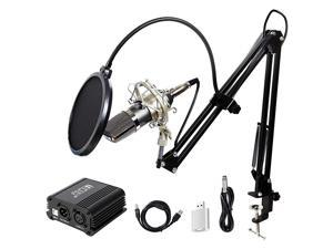 Pro Condenser Microphone XLR to 35mm Podcasting Studio Recording Condenser Microphone Kit Computer Mics with 48V Phantom Power Supply Black