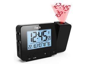 Projection Clock Dimmable LCD Display Screen Digital Alarm Clock Dual Alarm with USB Charging Port 1224 Hours Indoor TemperatureDayDate Display with Dimming