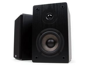 MB42 Bookshelf Speakers Passive Not for Turntable Needs Amplifier or Receiver 4Inch Carbon Fiber Woofer and Silk Dome Tweeter Black Pair