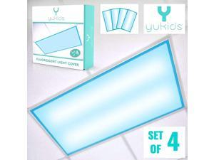 Fluorescent Light Covers Calm Blue Filter Set of 4 for Classroom Office Hospital and Home Light Diffuser to Protect Against Blue Light and Glare Sensory Lighting for School