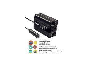 150W Car Power Inverter DC 12V to 110V AC Car Converter with 31A Dual USB Car AdapterBlack