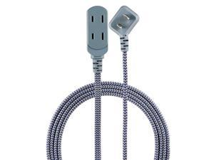 43434T1 NavyGray Designer 3 Extension 2 Prong Power Strip Extra Long 15 Ft Cable with Flat Plug Braided Chevron Fabric Cord SlidetoClose Safety Outlets 43434