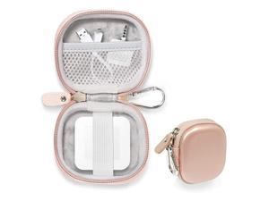 Credit Card Reader Case for Square Contactless and Chip Reader Chip Reader Scanner USB Cables and Small Accessories Mesh Pocket Secure Elastic Strap Easy to go Carabiner Rose Gold