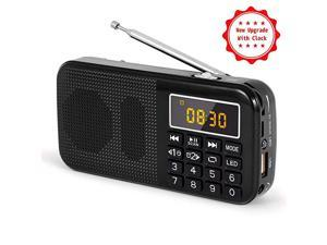 J725C Portable Mini FM Radio Speaker Music Player USB Drive TF Card with LED Display Alarm Clock 3000 Rechargeable Battery NO AMBlack